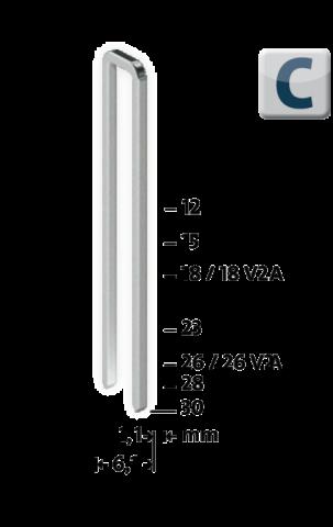 Tip C 4/18 V2A mm zincate 1100 bucăți 1100 ea.